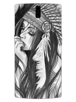 Triabal Girl Sketch OnePlus 1 Mobile Cover Case