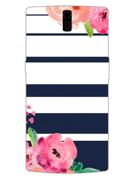 Floral Stripes OnePlus 1 Mobile Cover Case