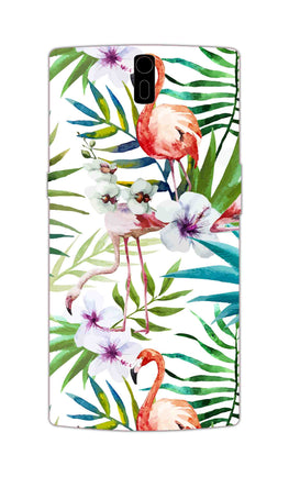 Flamingo With Leaves Nature Art OnePlus 1 Mobile Cover Case