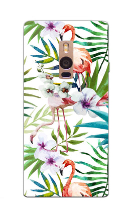 Flamingo With Leaves Nature Art OnePlus 2 Mobile Cover Case