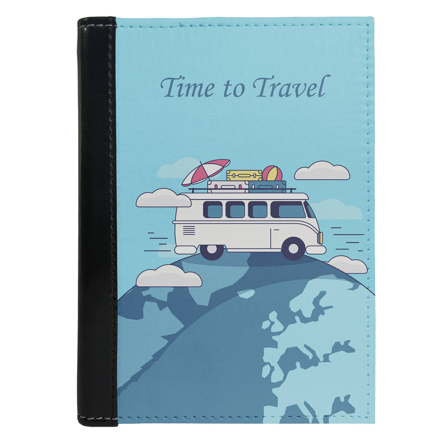 Passport Cover Passport Holder - For Men and Women Time To Travel On World With Luggage Over Bus