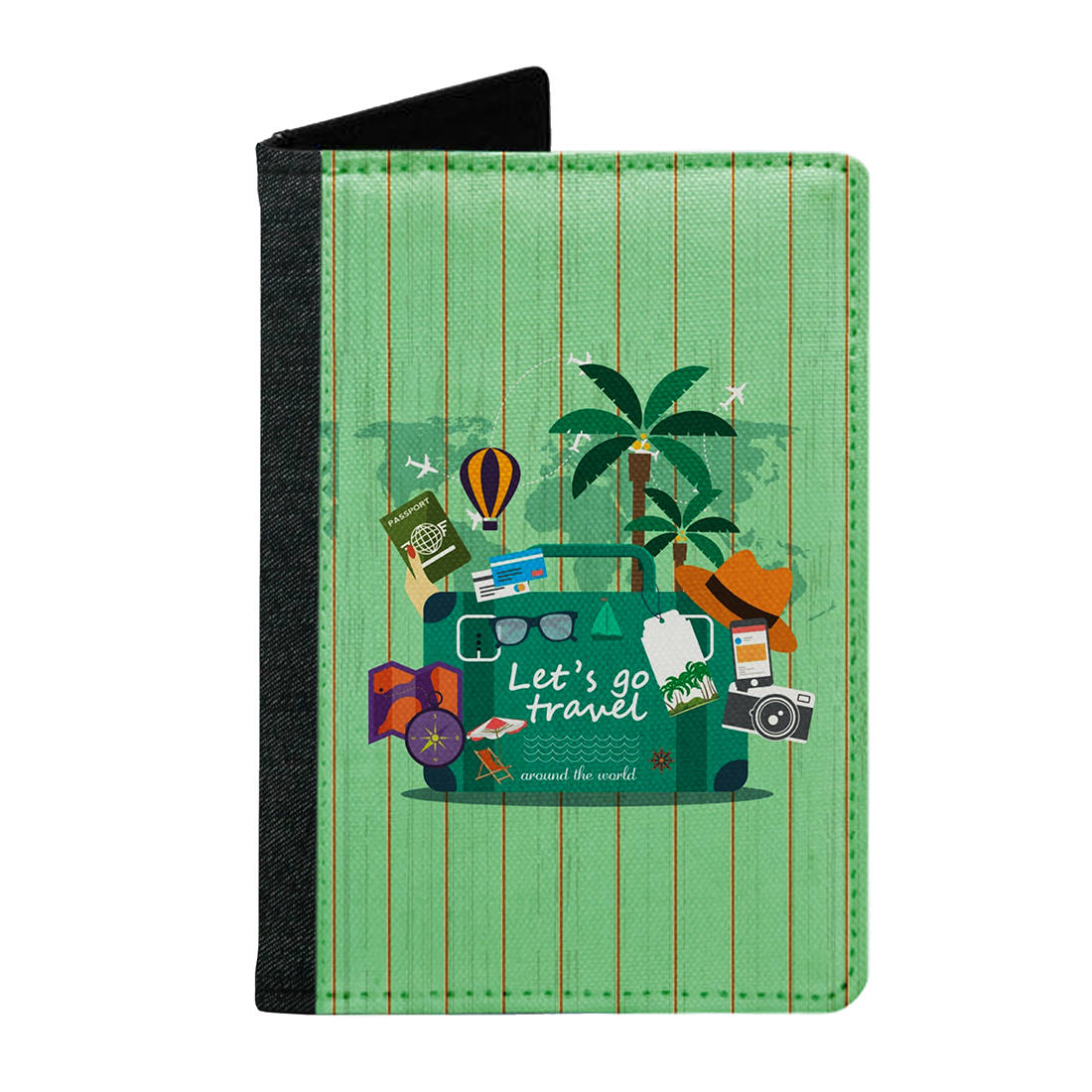 Passport Cover Passport Holder - For Men and Women Lets Go Travel With Lugggage