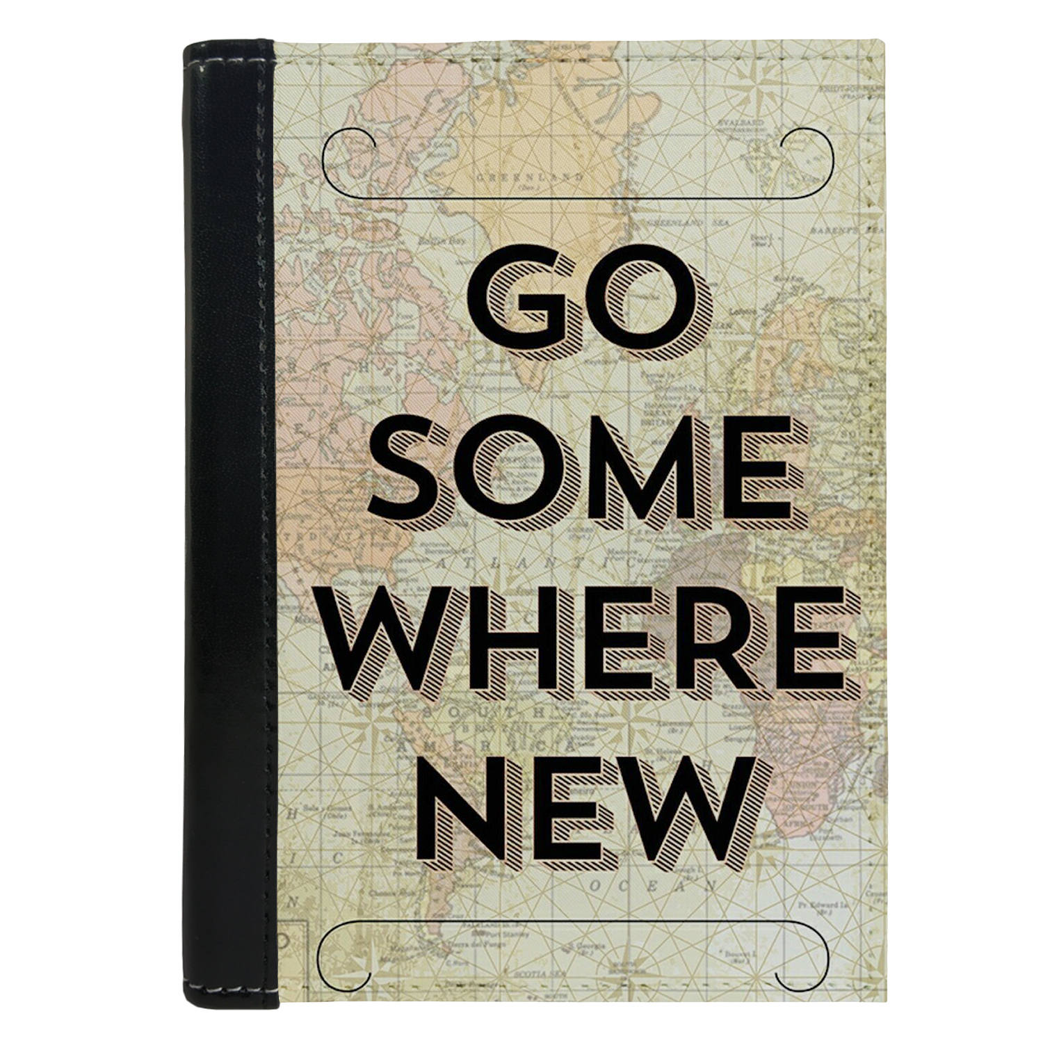 Passport Cover Passport Holder - For Men and Women Go Some Where New Quote Map