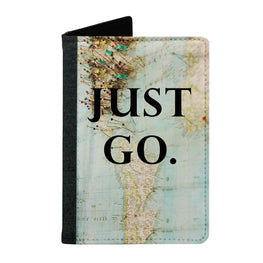 Passport Cover Passport Holder - For Men and Women Just Go Map