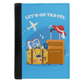 Passport Cover Passport Holder - For Men and Women Lets Go Travel With Luggage