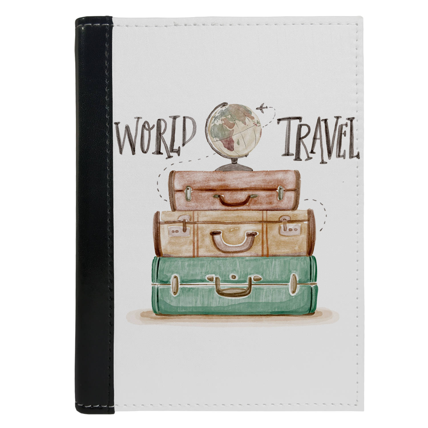 Passport Cover Passport Holder - For Men and Women World Travel Globe With Suitcase