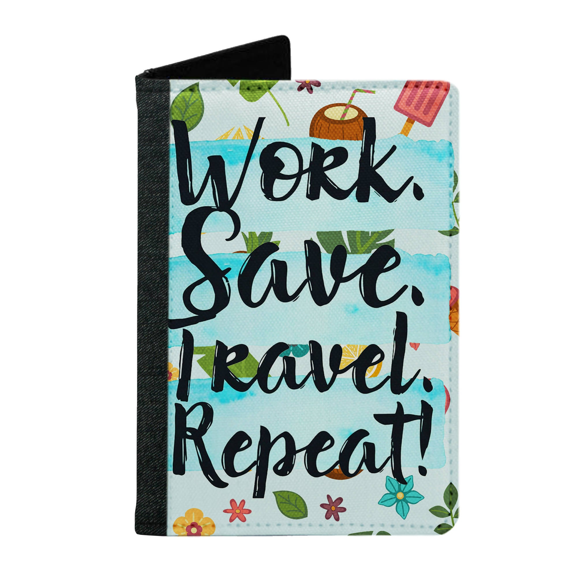 Passport Cover Passport Holder - For Men and Women Work Save Travel Repeat Quote