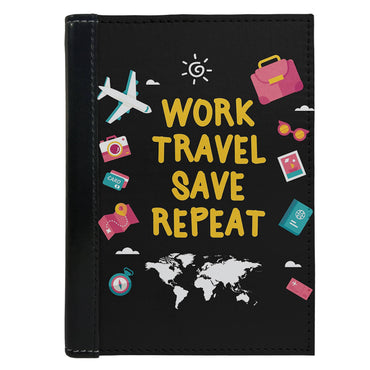 Passport Cover Passport Holder - For Men and Women Work Travel Save Repeat Black Typography