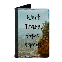 Passport Cover Passport Holder - For Men and Women Work Travel Save Repeat Pinapple Art