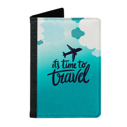 Passport Cover Passport Holder - For Men and Women Its Time To Travel On Plane Typography