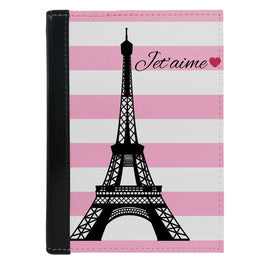 Passport Cover Passport Holder - For Men and Women Paris Love With Pink White Strips