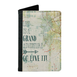 Passport Cover Passport Holder - For Men and Women Life Is Grand Adventure Go Live It