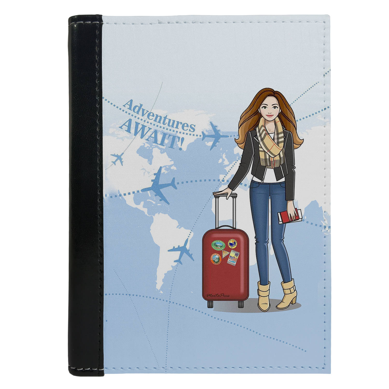 Passport Cover Passport Holder - For Men and Women Girl Travel Adventure Await