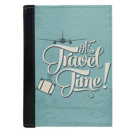 Passport Cover Passport Holder - For Men and Women Its Travel Time Typography Airplane Art