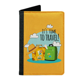 Passport Cover Passport Holder - For Men and Women Its Time To Travel With Luggage Typography