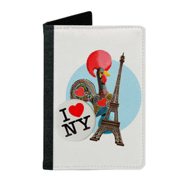 Passport Cover Passport Holder - For Men and Women I Love Eiffel Tower With Colourful Cock Eiffel Tower Heart Lovers