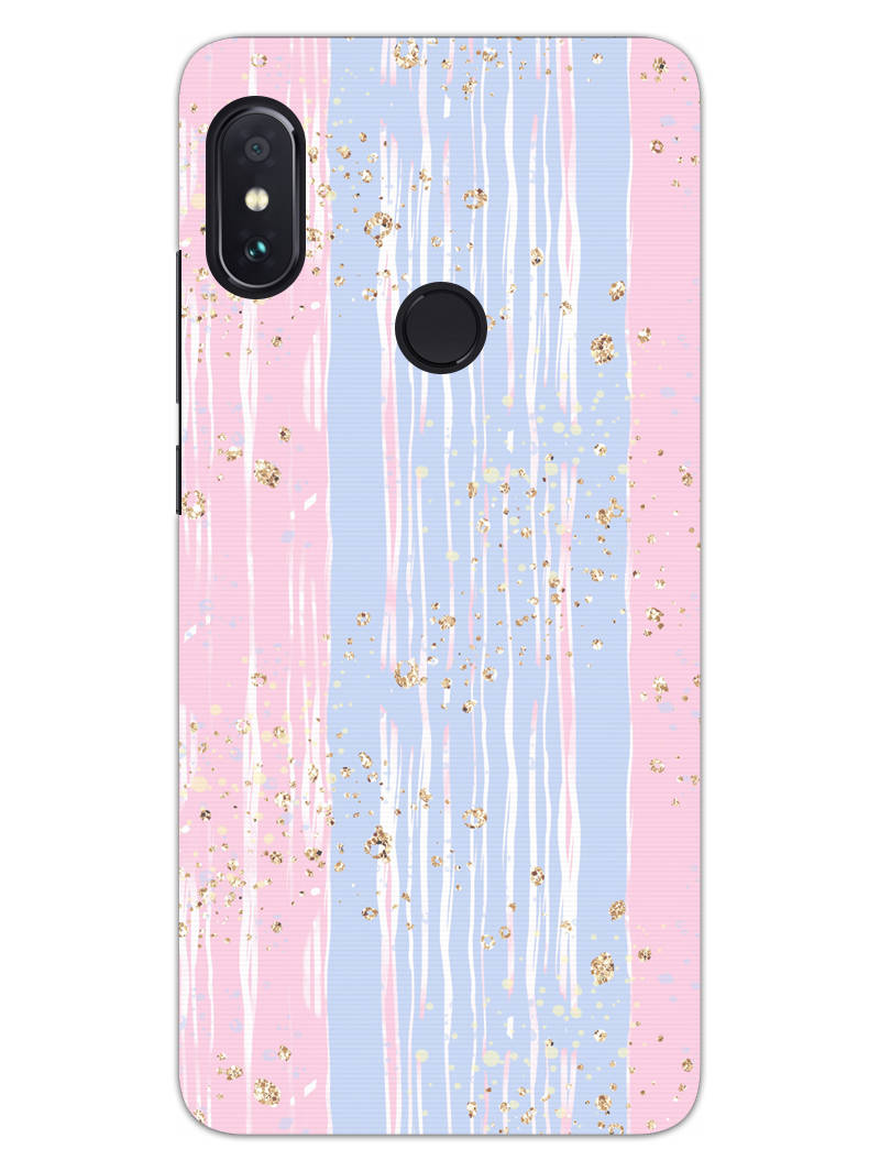 Pink And Blue Shade Lines RedMi Note 6 Pro Mobile Cover Case - MADANYU