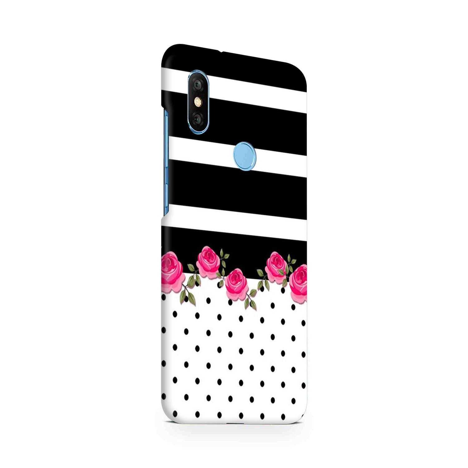 Rose Polka Stripes RedMi Note 6 Pro Mobile Cover Case - MADANYU