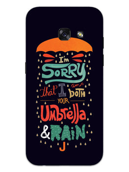 Umbrella And Rain Rainny Quote Samsung Galaxy A3 2017 Mobile Cover Case