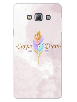 Carpe Diem Good Vibes Colorful Feather Samsung Galaxy A7 2015 Mobile Cover Case