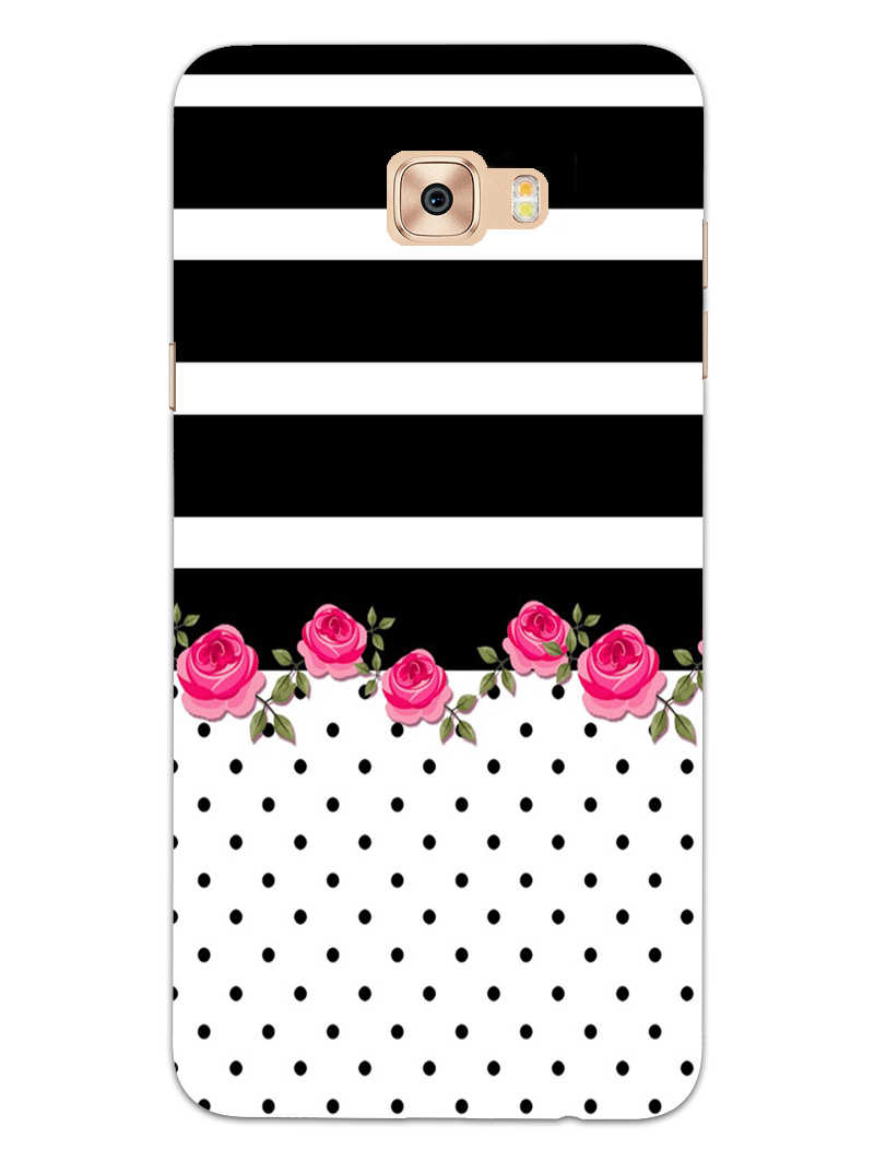 Rose Polka Stripes Samsung Galaxy C7 Pro Mobile Cover Case