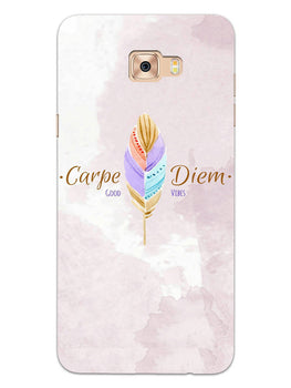 Carpe Diem Good Vibes Colorful Feather Samsung Galaxy C9 Pro Mobile Cover Case