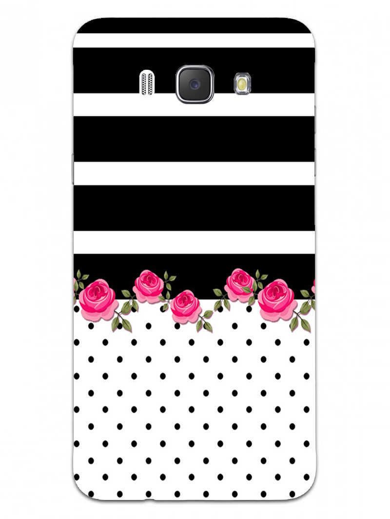 Rose Polka Stripes Samsung Galaxy J7 2016 Mobile Cover Case - MADANYU