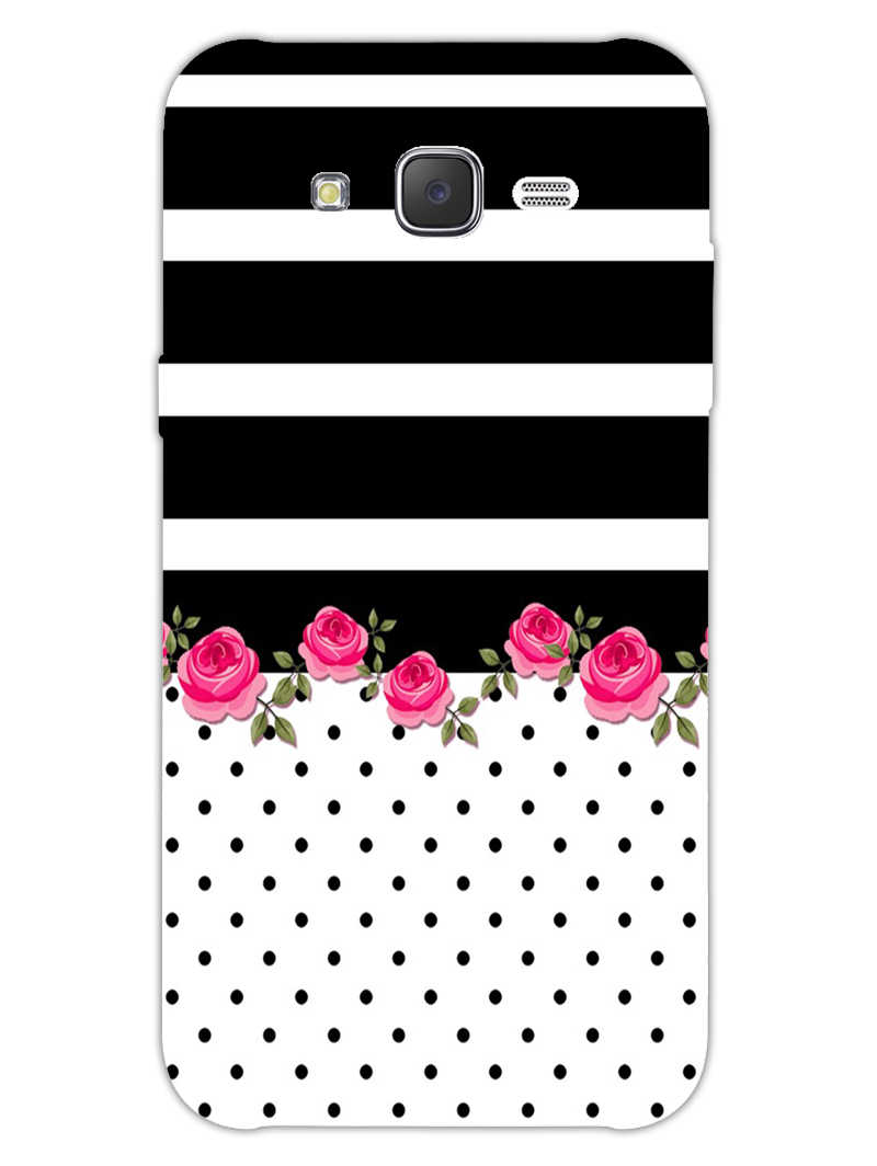 Rose Polka Stripes Samsung Galaxy J7 2015 Mobile Cover Case - MADANYU