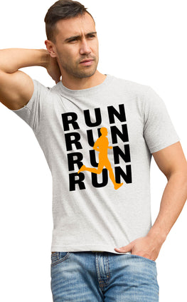 Graphic Printed T-Shirt for Men & Women Run Run For Gym Lovers