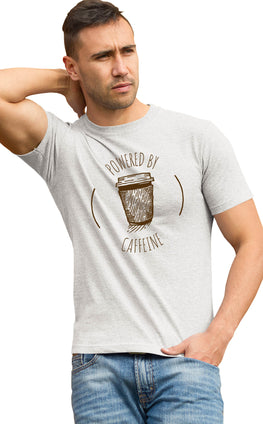 Graphic Printed T-Shirt for Men & Women Powered By Caffeine For Coffee Lovers