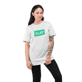 Graphic Printed T-Shirt for Men & Women Slay Green Typography