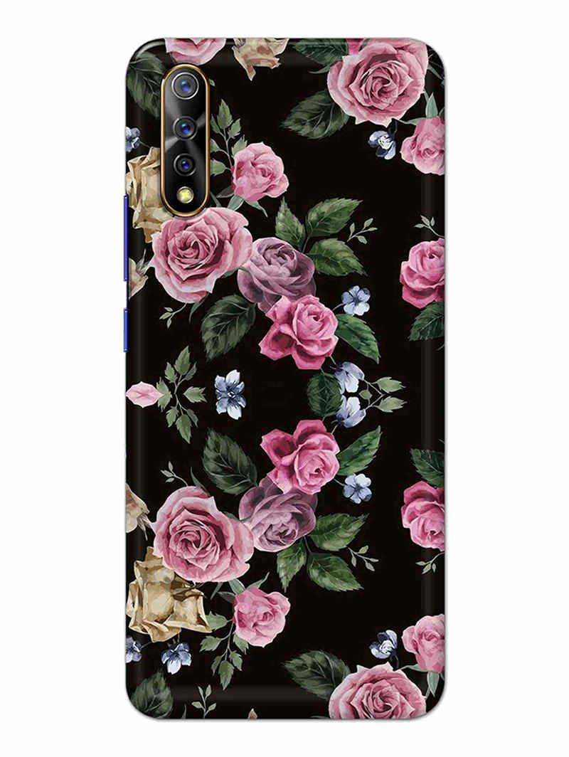 Vintage Rose Black Vivo S1 Cover Case