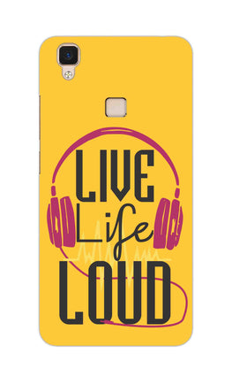 Live Life Loud headphone Quote Yellow Vivo V3 Mobile Cover Case