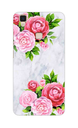 Pink Roses Floral Marble So Girly Vivo V3 Mobile Cover Case