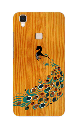 Peacock On Wood So Girly Pattern Vivo V3 Mobile Cover Case