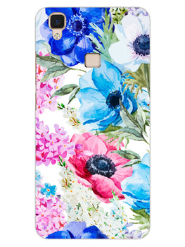 Hand Painted Floral Vivo V3 Mobile Cover Case