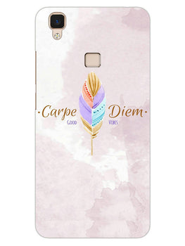 Carpe Diem Good Vibes Colorful Feather Vivo V3 Mobile Cover Case
