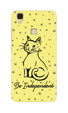 Be Independent Cat Motivational Quote Vivo V3 Mobile Cover Case