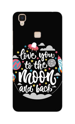 Love You Moon Space Surfing Lovers Vivo V3 Mobile Cover Case