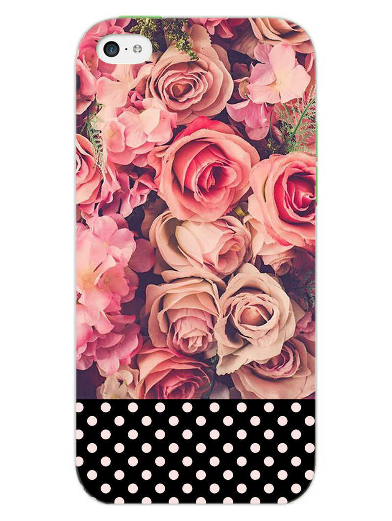 Polka Peach Rose iPhone 5S Mobile Cover Case - MADANYU