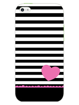 Stripes Heart Pink iPhone 5S Mobile Cover Case