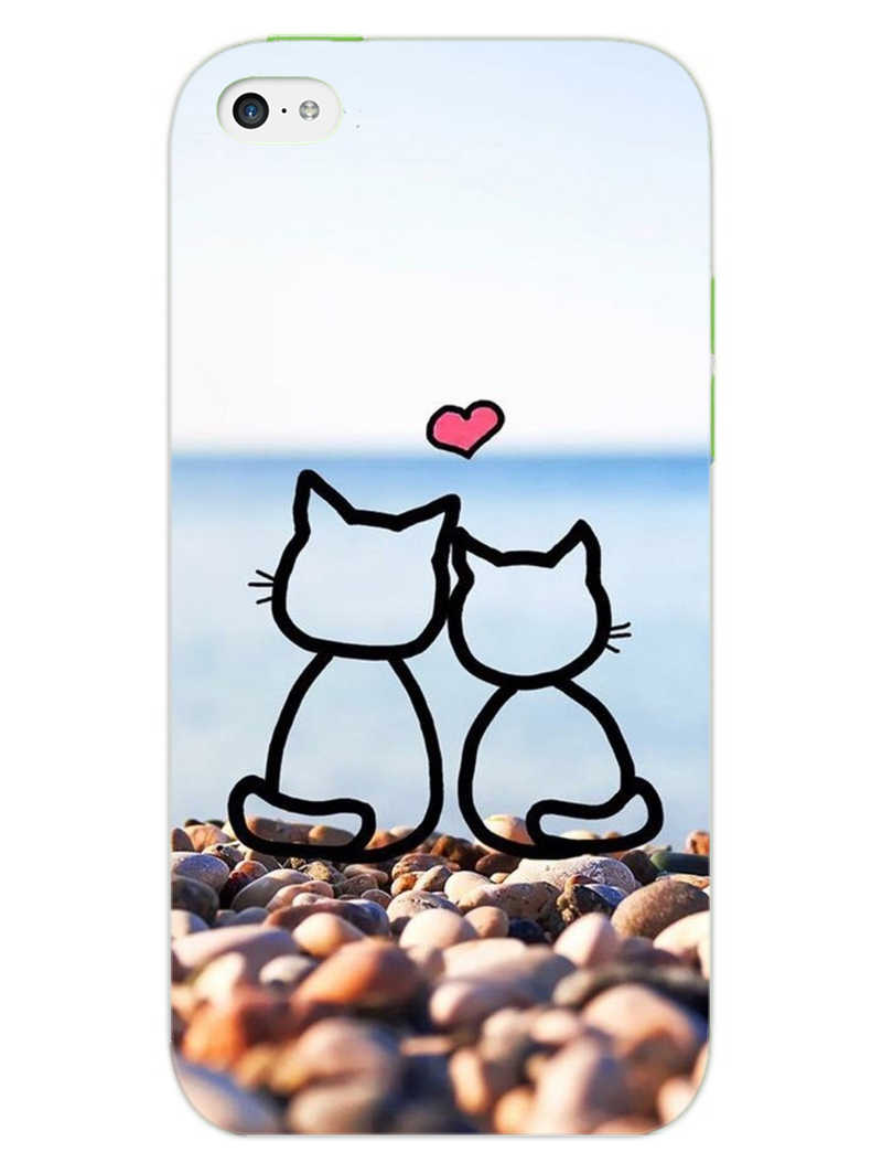 Cat Couple iPhone 5S Mobile Cover Case - MADANYU