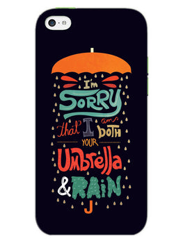 Umbrella And Rain Rainny Quote iPhone 5S Mobile Cover Case