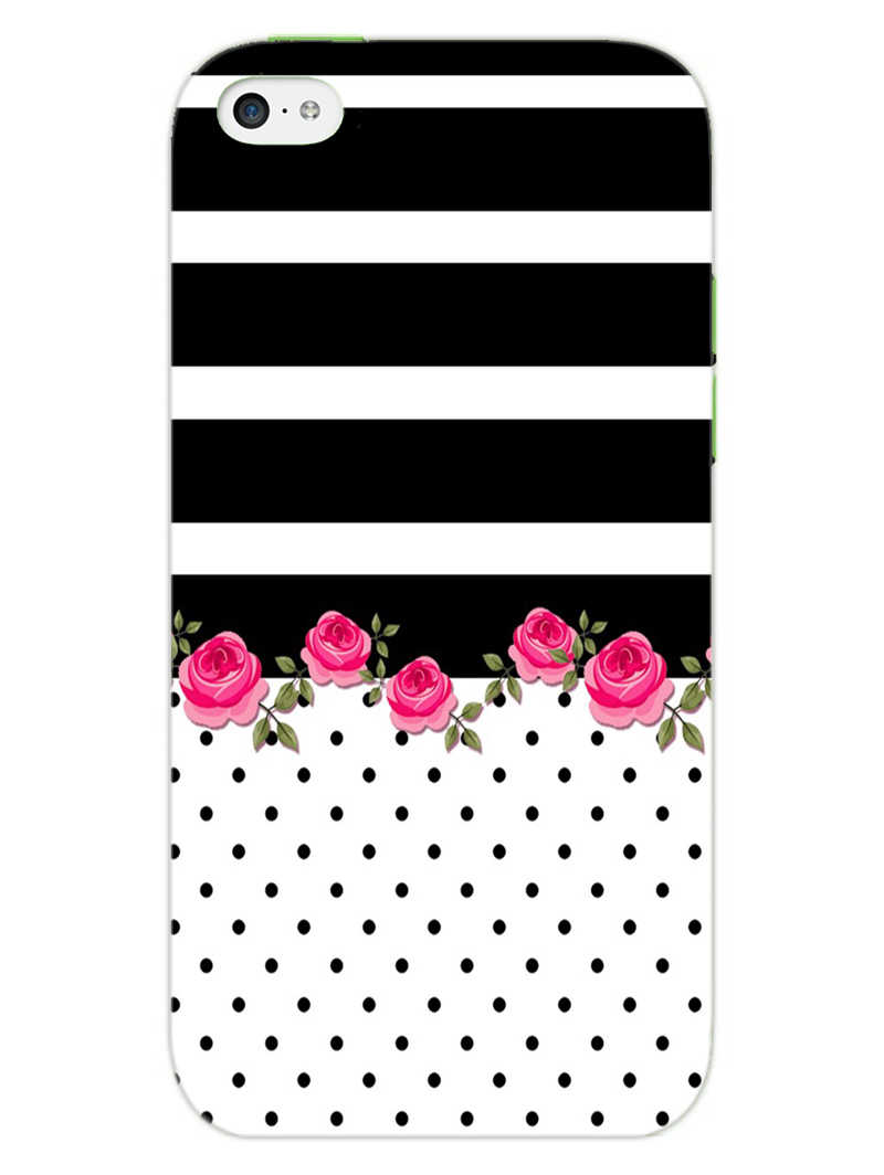Rose Polka Stripes iPhone 5S Mobile Cover Case