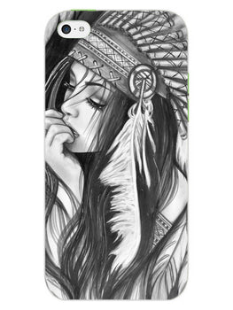 Triabal Girl Sketch iPhone 5S Mobile Cover Case