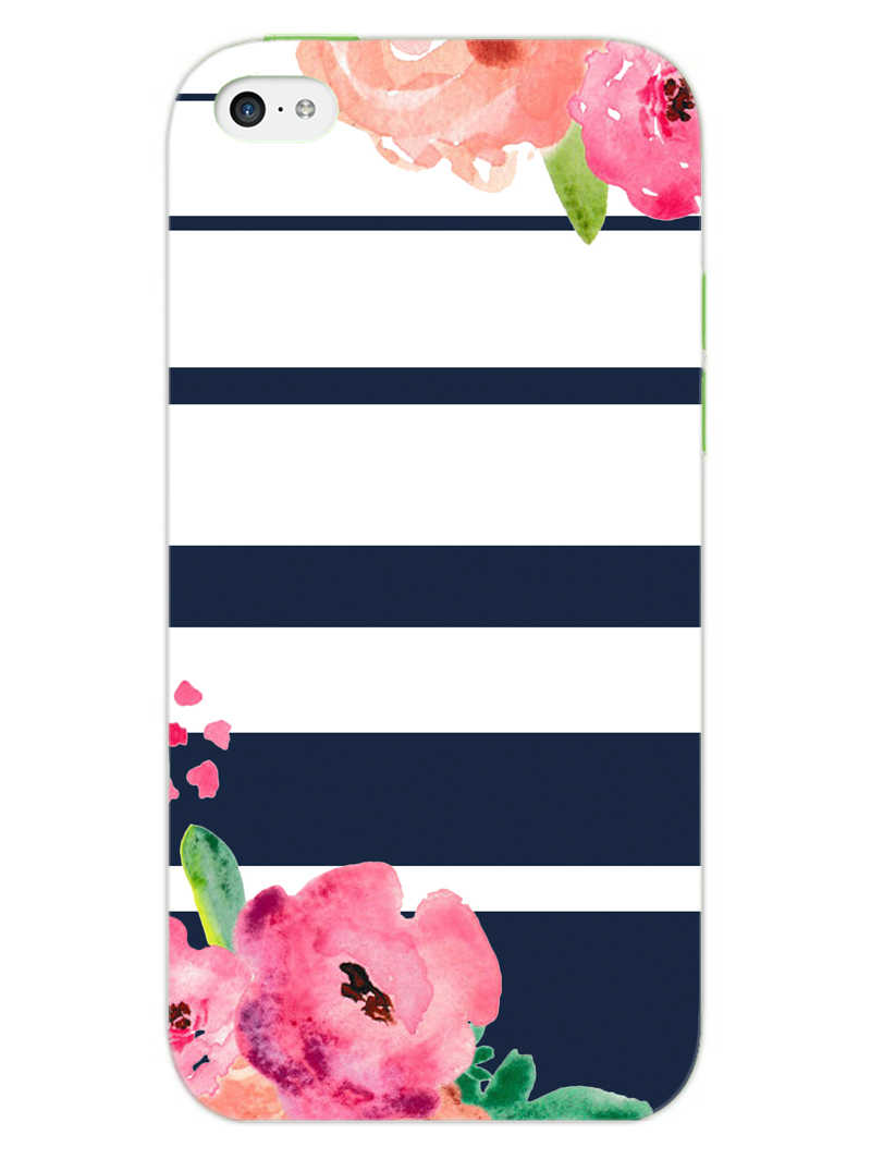 Floral Stripes iPhone 5S Mobile Cover Case - MADANYU