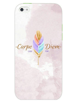 Carpe Diem Good Vibes Colorful Feather iPhone 5 Mobile Cover Case