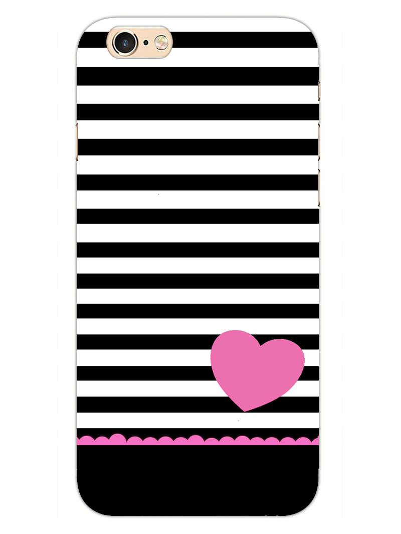 Stripes Heart Pink iPhone 6S Plus Mobile Cover Case - MADANYU