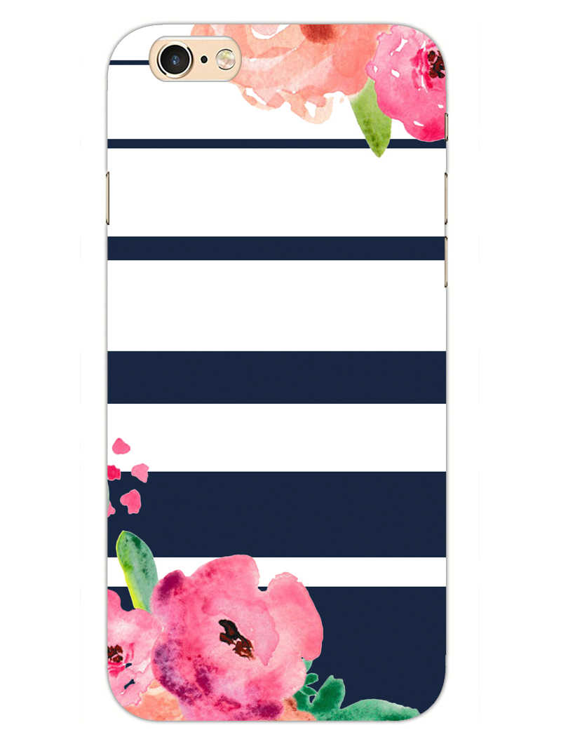Floral Stripes iPhone 6S Plus Mobile Cover Case - MADANYU