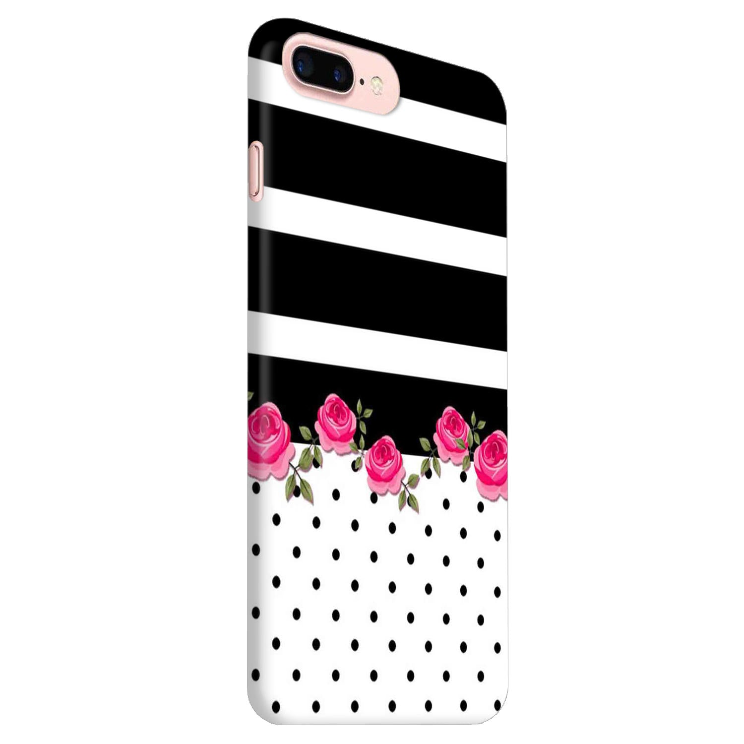 Rose Polka Stripes iPhone 7 Plus Mobile Cover Case - MADANYU